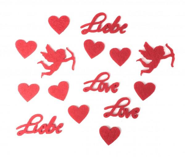 Streu-Deko rot - Liebe/Valentinstag/Amor/Hochzeit aus Filz