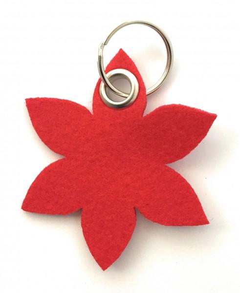 Blume - Spitz - Filz-Schlüsselanhänger - Farbe: rot - optional mit Gravur / Aufdruck