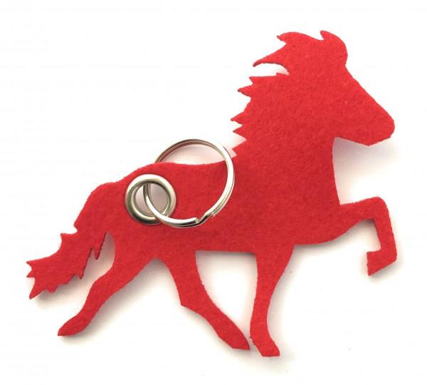 Island -Pferd / Reiten - Filz-Schlüsselanhänger - Farbe: rot - optional mit Gravur / Aufdruck