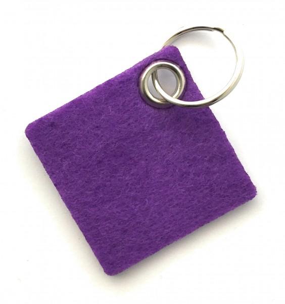 Viereck - Filz-Schlüsselanhänger - Farbe: lila / flieder - optional mit Gravur / Aufdruck