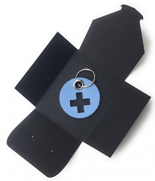 Schlüsselanhänger aus Filz - Kreis / Scheibe / mit Kreuz - eisblau als Schlüsselanhänger / Kofferanh