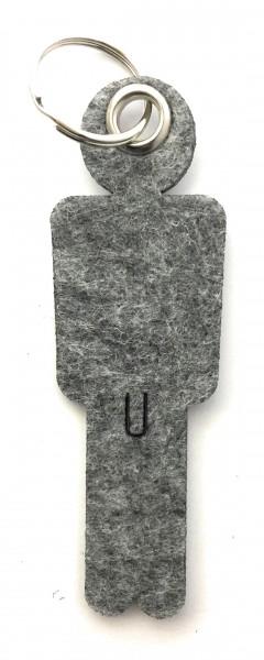 Mann / His - Filz-Schlüsselanhänger - Farbe: grau meliert - optional mit Gravur / Aufdruck