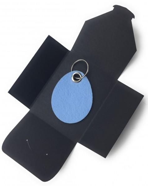 Schlüsselanhänger aus Filz optional mit Namensgravur - Oster-Ei / Ostern - in eisblau als Schlüssela