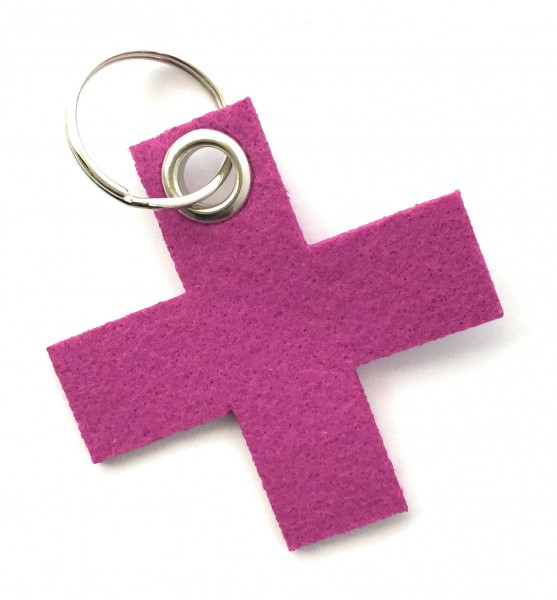 Kreuz, klein / X - Filz-Schlüsselanhänger - Farbe: magenta - optional mit Gravur / Aufdruck