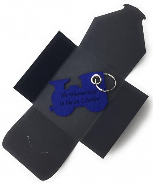 Schlüsselanhänger aus Filz optional mit Namensgravur - Dampflok klein / Lokomotive - königsblau als