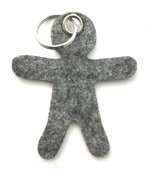 Lebkuchen - Männchen - Filz-Schlüsselanhänger - Farbe: grau meliert - optional mit Gravur / Aufdruck