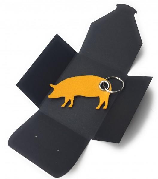 Schlüsselanhänger aus Filz optional mit Namensgravur - Haus-Schwein / Metzger / Fleischer - safrange
