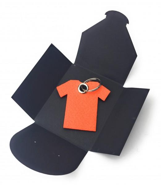 Schlüsselanhänger aus Filz optional mit Namensgravur - T-Shirt / Sport - orange als Schlüsselanhäng