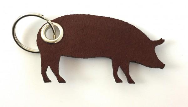 Schwein / Hausschwein - Filz-Schlüsselanhänger - Farbe: braun - optional mit Gravur / Aufdruck