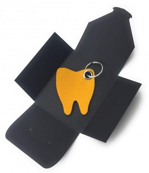 Schlüsselanhänger aus Filz optional mit Namensgravur - Backen-Zahn / Zahnarzt - safrangelb als Schlü