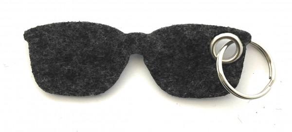 Brille - Filz-Schlüsselanhänger - Farbe: schwarz meliert - optional mit Gravur / Aufdruck