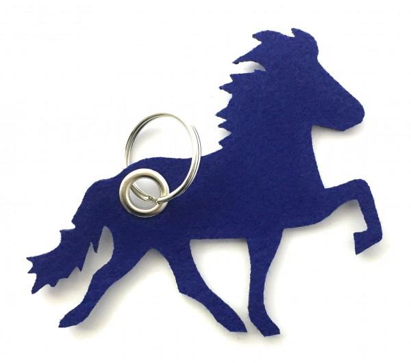 Island -Pferd / Reiten - Filz-Schlüsselanhänger - Farbe: royalblau - optional mit Gravur / Aufdruck