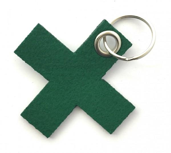 Kreuz, klein / X - Filz-Schlüsselanhänger - Farbe: waldgrün - optional mit Gravur / Aufdruck