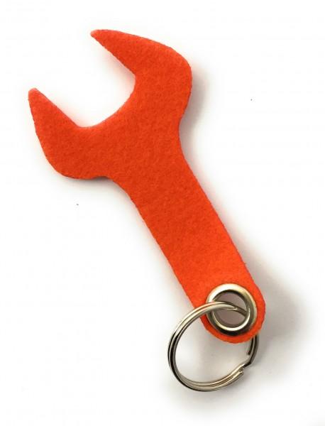 Schraubenschlüssel / Werkzeug - Filz-Schlüsselanhänger - Farbe: orange - optional mit Gravur / Aufdr