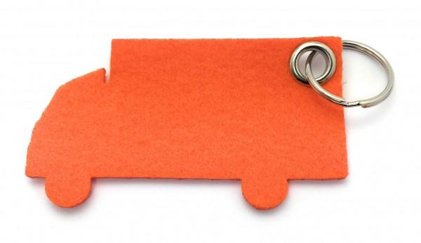 LKW - Filz-Schlüsselanhänger - Farbe: orange - optional mit Gravur / Aufdruck