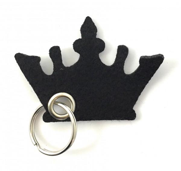 Krone - Filz-Schlüsselanhänger - Farbe: schwarz - optional mit Gravur / Aufdruck