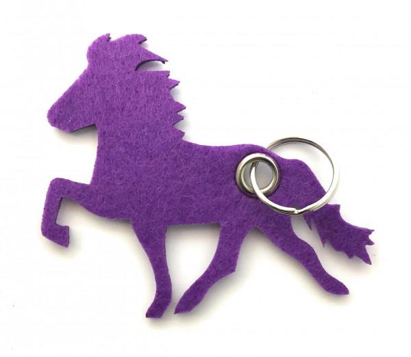 Island -Pferd / Reiten - Filz-Schlüsselanhänger - Farbe: lila / flieder - optional mit Gravur / Aufd