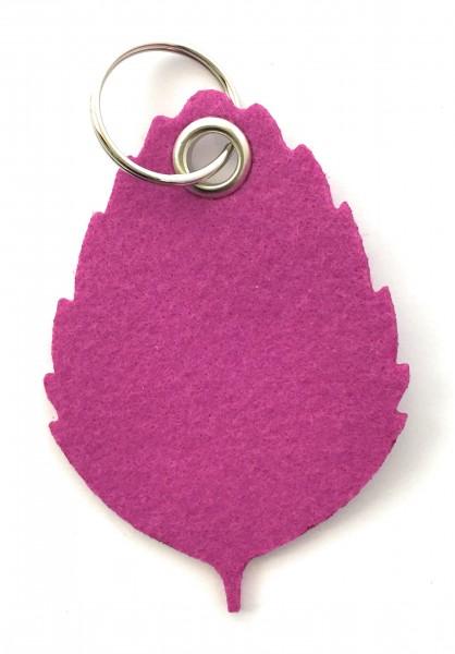 Blatt / Baum / Laub - Filz-Schlüsselanhänger - Farbe: magenta - optional mit Gravur / Aufdruck
