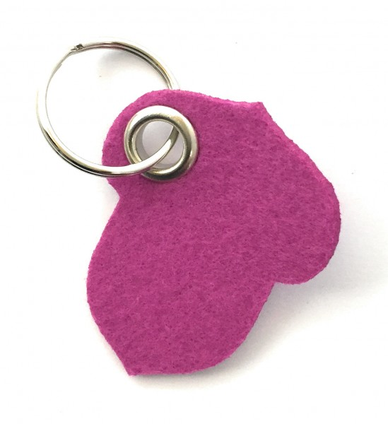 Hasel-Nuss - Filz-Schlüsselanhänger - Farbe: magenta - optional mit Gravur / Aufdruck