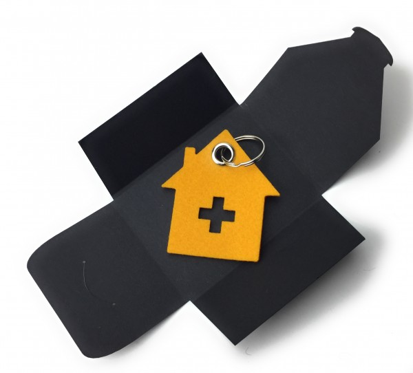 Schlüsselanhänger aus Filz optional mit Namensgravur - Haus mit Kreuz - safrangelb als Schlüsselanh