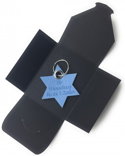 Schlüsselanhänger aus Filz optional mit Namensgravur - 6eck-Stern - eisblau als Schlüsselanhänger /