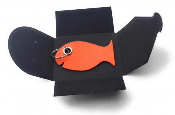 Schlüsselanhänger aus Filz optional mit Namensgravur - Fisch / Tier - orange als Schlüsselanhänger /