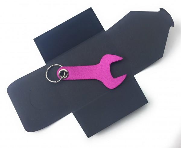 Schlüsselanhänger aus Filz optional mit Namensgravur - Schraubenschlüssel / Werkzeug - pink / magent