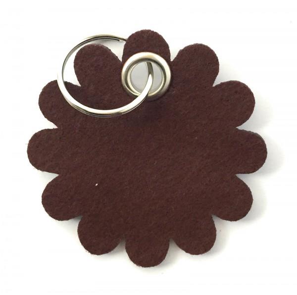 Blume - Rund - Filz-Schlüsselanhänger - Farbe: braun - optional mit Gravur / Aufdruck