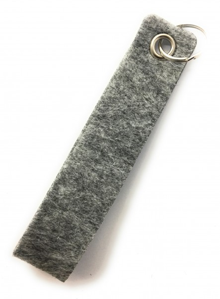 Schlaufe maxi - Filz-Schlüsselanhänger - Farbe: grau meliert - optional mit Gravur / Aufdruck
