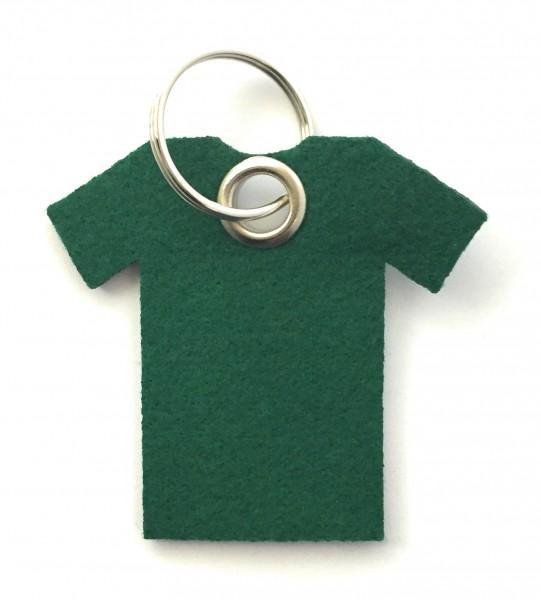 T-Shirt - Filz-Schlüsselanhänger - Farbe: waldgrün - optional mit Gravur / Aufdruck
