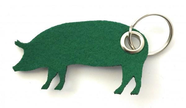 Schwein / Hausschwein - Filz-Schlüsselanhänger - Farbe: waldgrün - optional mit Gravur / Aufdruck