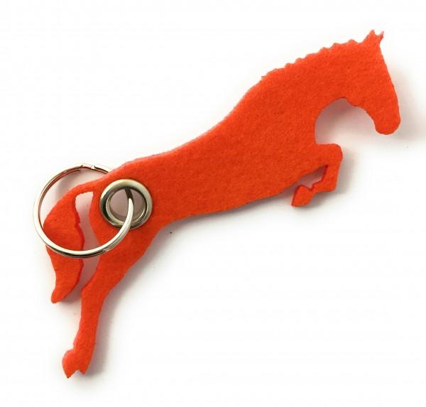 Spring - Pferd - Filz-Schlüsselanhänger - Farbe: orange - optional mit Gravur / Aufdruck