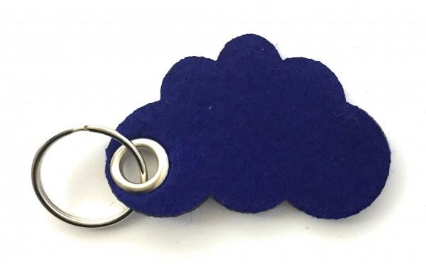 Wolke / Cloud - Filz-Schlüsselanhänger - Farbe: royalblau - optional mit Gravur / Aufdruck