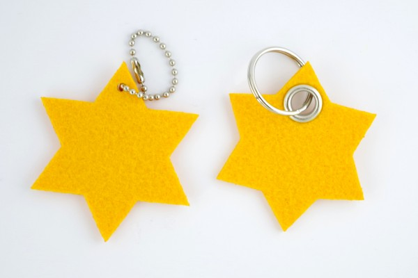 Stern Filz Schlüsselanhänger. Weihnachtsstern mit Schlüsselring und optionaler Werbekarte