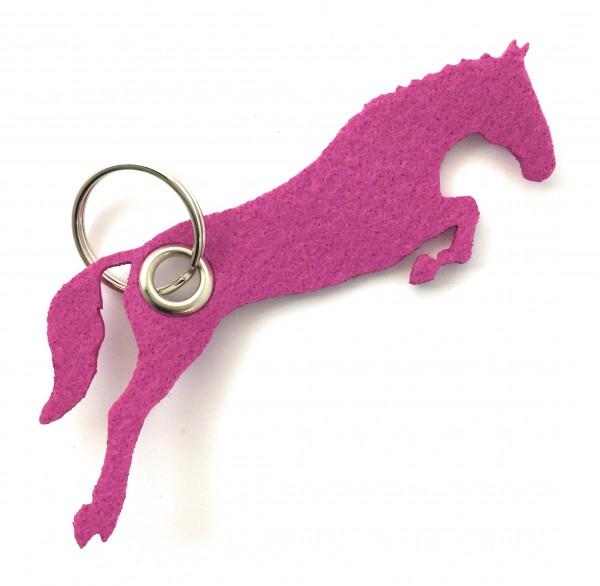Spring - Pferd - Filz-Schlüsselanhänger - Farbe: magenta - optional mit Gravur / Aufdruck