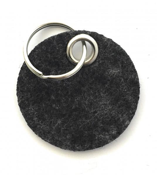 Kreis / Scheibe / Rund - Filz-Schlüsselanhänger - Farbe: schwarz meliert - optional mit Gravur / Auf