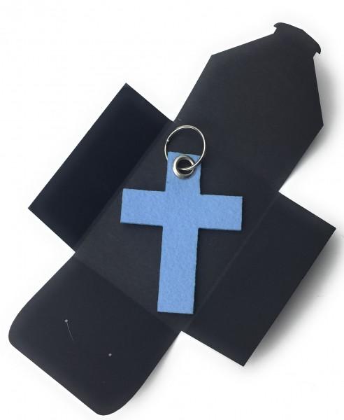 Schlüsselanhänger aus Filz optional mit Namensgravur - Kreuz gross - in eisblau als Schlüsselanhänge