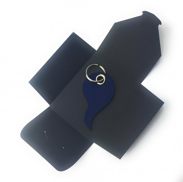 Schlüsselanhänger aus Filz optional mit Namensgravur - Flamme / Tropfen - marineblau als Schlüssela