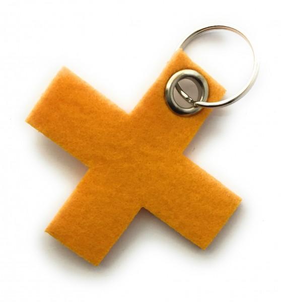 Kreuz, klein / X - Filz-Schlüsselanhänger - Farbe: gelb - optional mit Gravur / Aufdruck