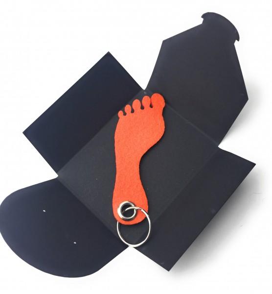 Schlüsselanhänger aus Filz optional mit Namensgravur - Fuss / Sohle - orange als Schlüsselanhänger