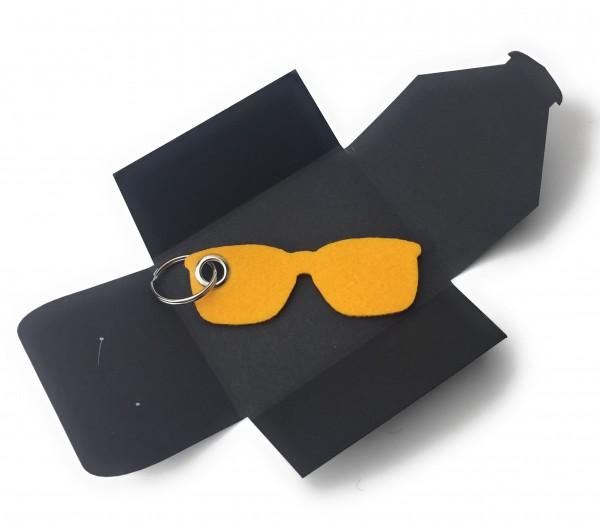 Schlüsselanhänger aus Filz optional mit Namensgravur - Sonnen-Brille / Urlaub - safrangelb als Schl