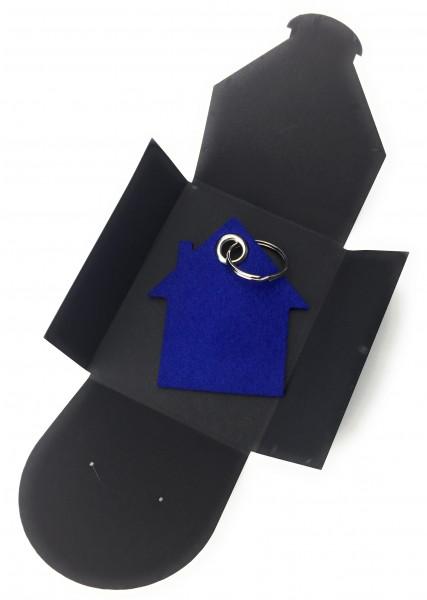Schlüsselanhänger aus Filz optional mit Namensgravur - Haus - königsblau als Schlüsselanhänger / Kof
