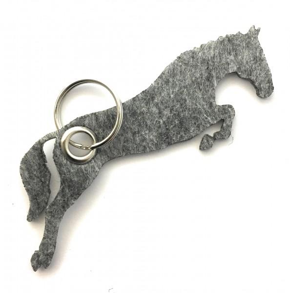 Spring - Pferd - Filz-Schlüsselanhänger - Farbe: grau meliert - optional mit Gravur / Aufdruck