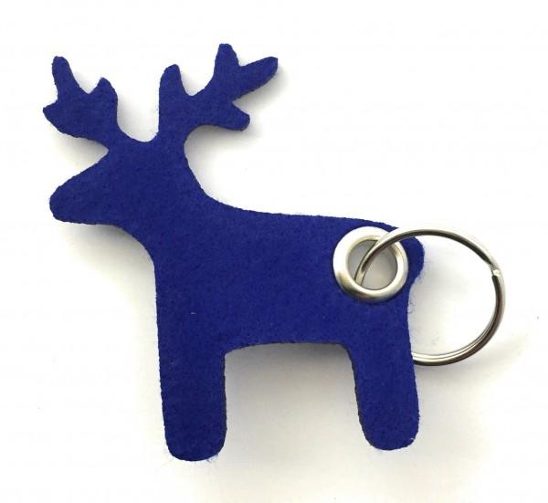 Elch - Filz-Schlüsselanhänger - Farbe: royalblau - optional mit Gravur / Aufdruck