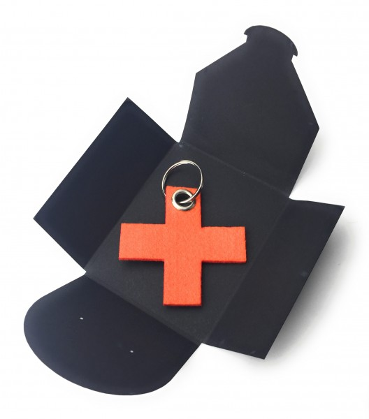 Schlüsselanhänger aus Filz optional mit Namensgravur - X / Kreuz klein - orange als Schlüsselanhänge