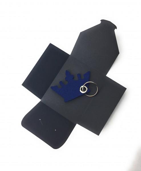 Schlüsselanhänger aus Filz optional mit Namensgravur - Krone / Prinzessin - marineblau als Schlüsse
