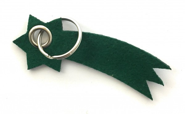 Sternschnuppe - Filz-Schlüsselanhänger - Farbe: waldgrün - optional mit Gravur / Aufdruck