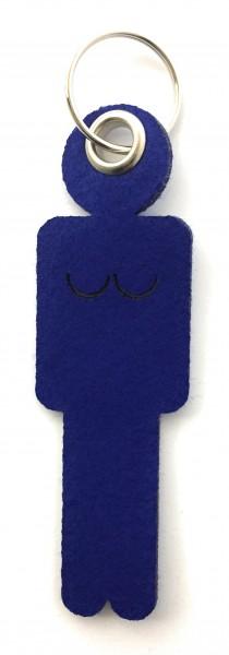 Frau / Hers - Filz-Schlüsselanhänger - Farbe: royalblau - optional mit Gravur / Aufdruck