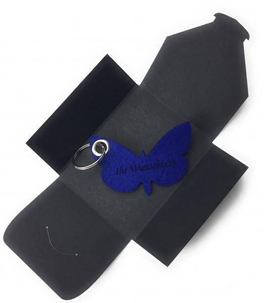 Schlüsselanhänger aus Filz optional mit Namensgravur - Schmetterling / Tier - königsblau als Schlüs