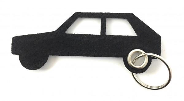 Auto - retro - Filz-Schlüsselanhänger - Farbe: schwarz - optional mit Gravur / Aufdruck